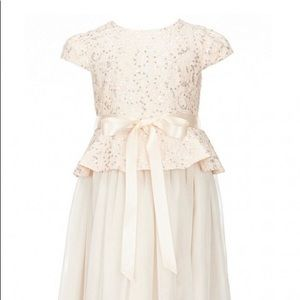 Blush lace and silver sequin peplum dress